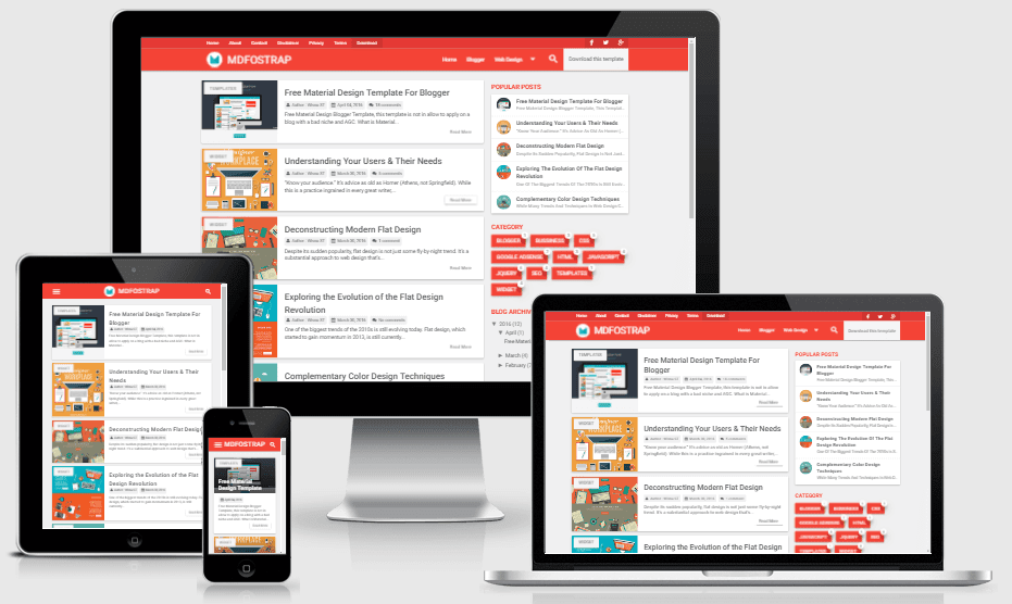 Download MDFostrap - Responsive Material Design Blogger Template