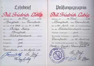 Bäcker - Gesellenbrief Philipp Friedrich Liebig