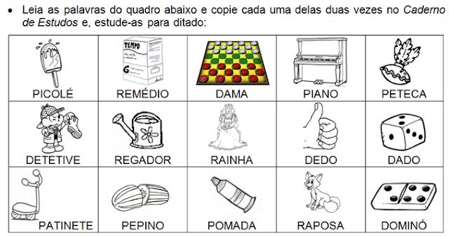 Palavras que têm a família silábica do D, P, R e T