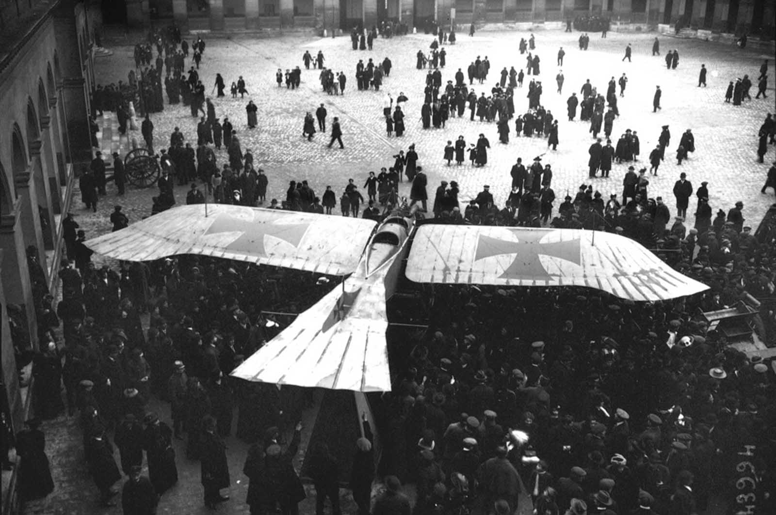 A captured German Taube monoplane, on display in the courtyard of Les Invalides in Paris, in 1915. The Taube was a pre-World War I aircraft, only briefly used on the front lines, replaced later by newer designs.