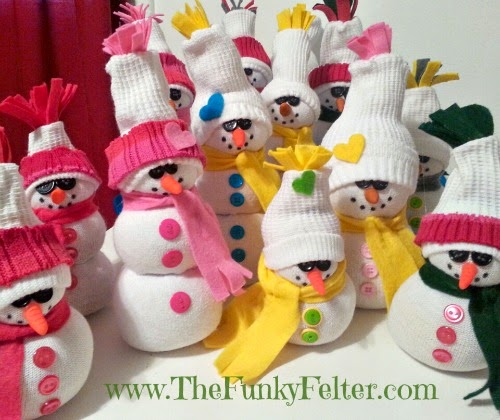 handmade sock snowman how to craft tutorial by the funky felter