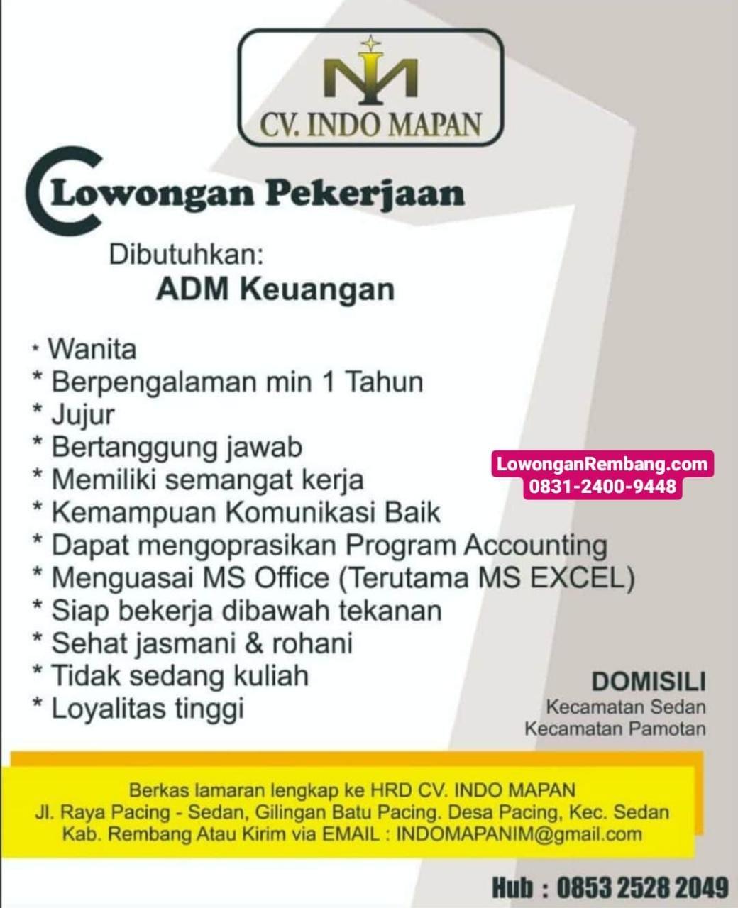 Lowongan Admin Keuangan CV Indo Mapan Pacing Sedan Rembang