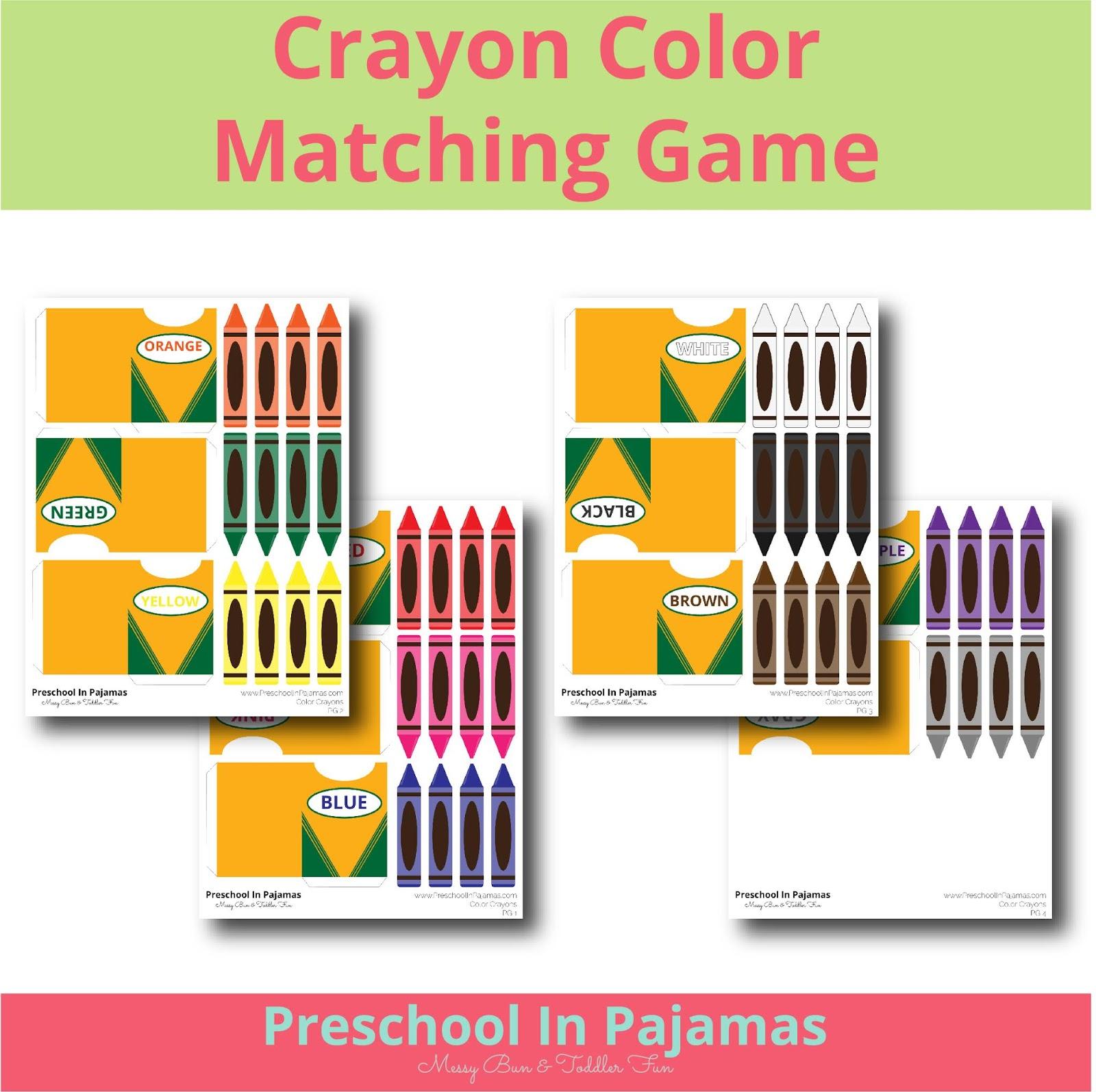 Free Crayon Color Matching Game Printable