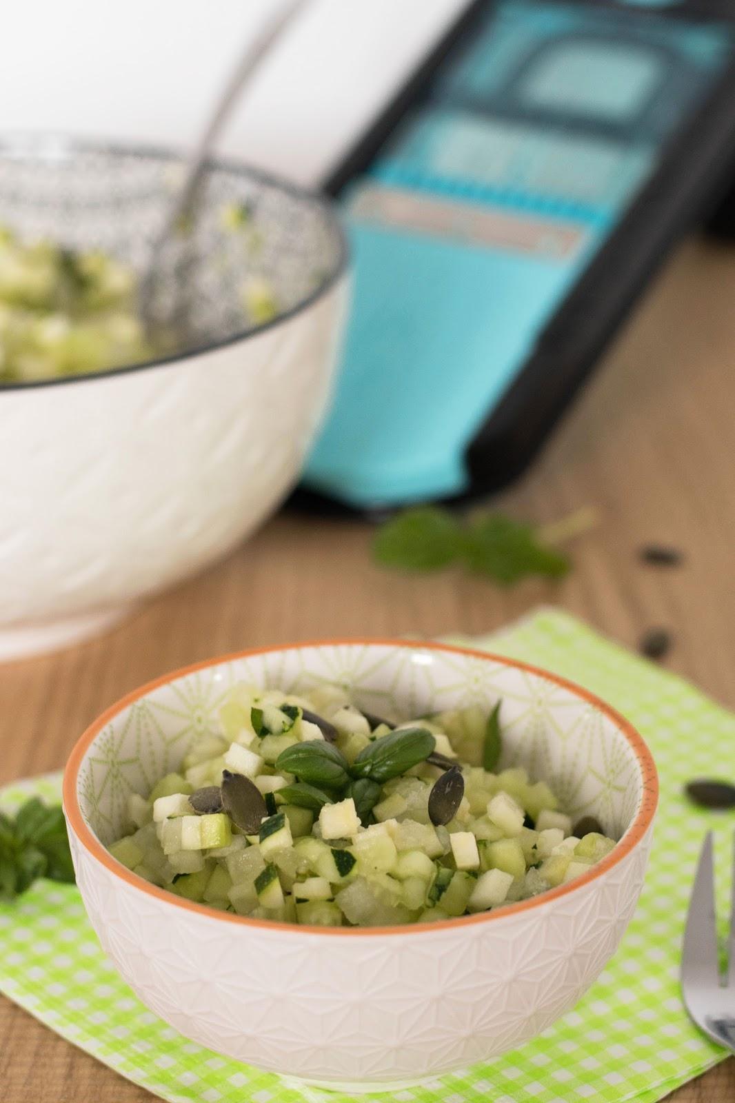 recette salade courgette concombre melon d'eau et basilic