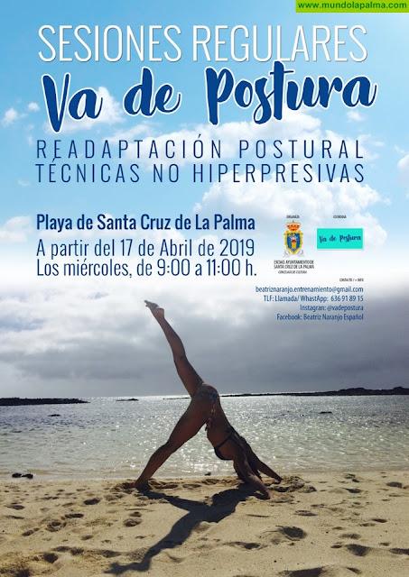 """""""Va de postura"""", una actividad para esquivar el dolor que se puede realizar en la playade Santa Cruz de La Palma"""