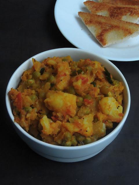 Bowl of potato green peas mash