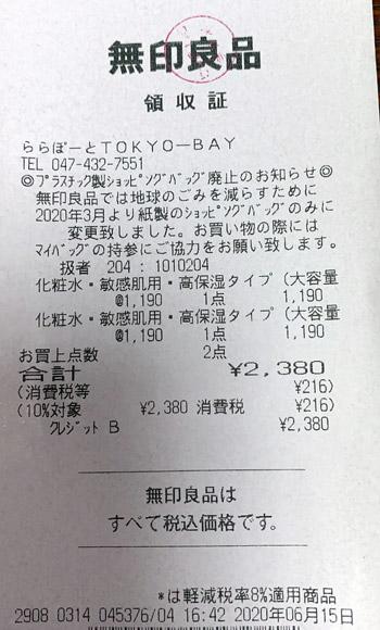 無印良品 ららぽーとTOKYO-BAY 2020/6/15 のレシート