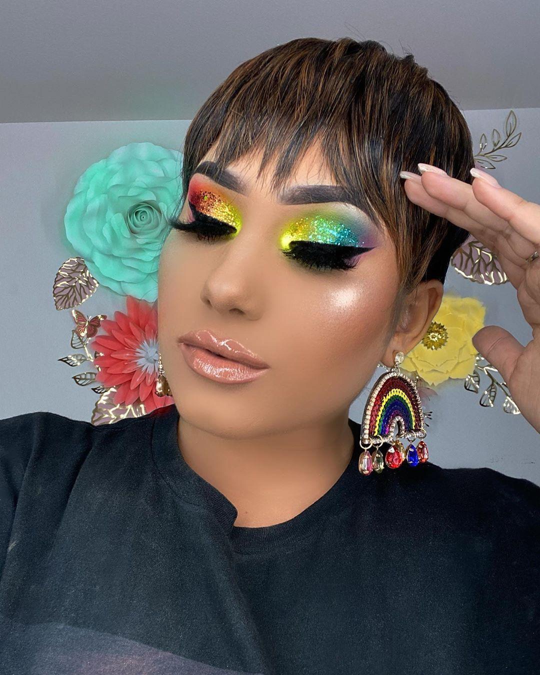 Maquiagem sombra neon colorida glitter