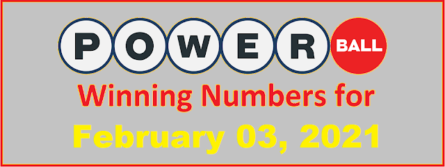 PowerBall Winning Numbers for Wednesday, February 03, 2021