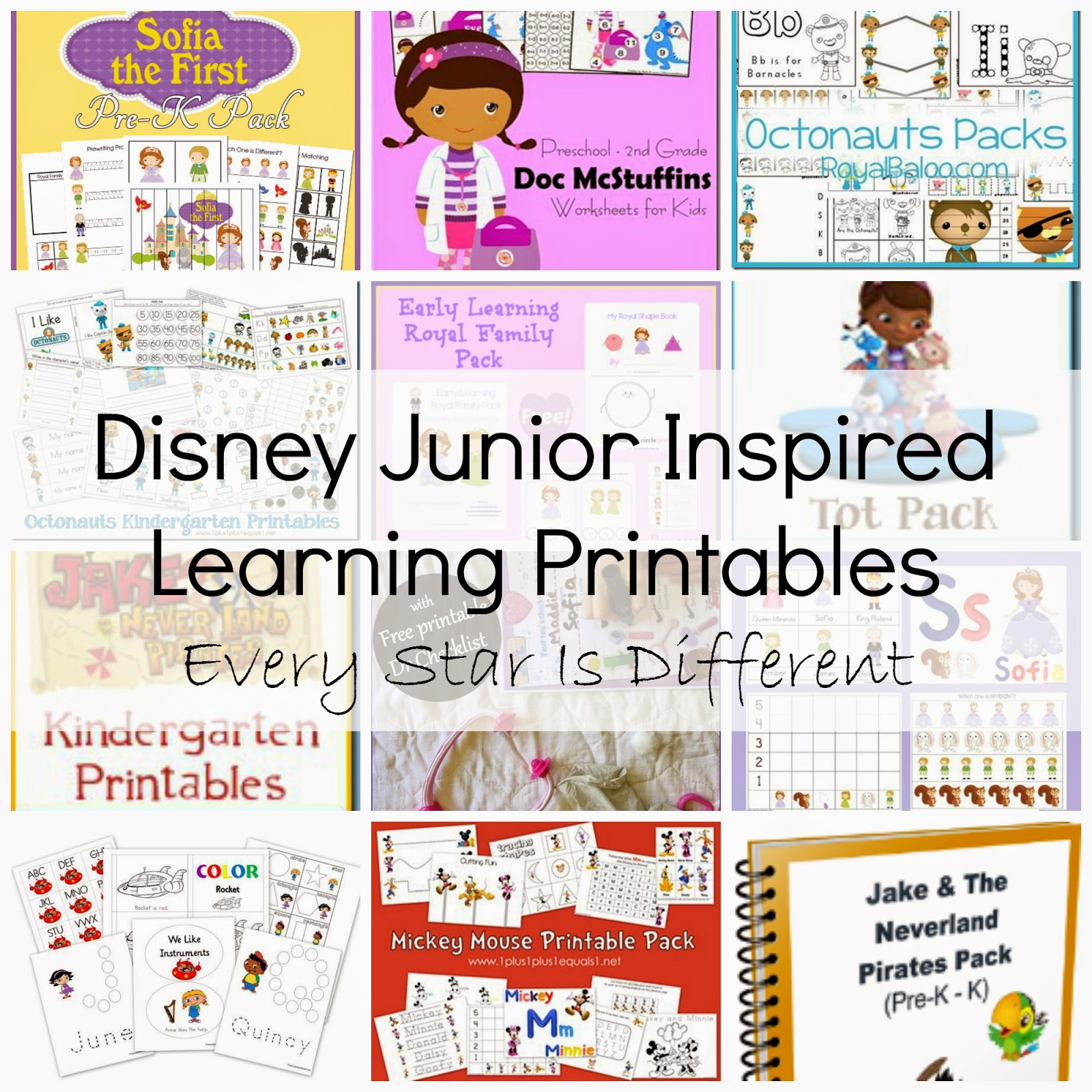 FREE Disney Inspired Learning Printable Packs \u0026 Activities - Every Star Is  Different [ 1600 x 1600 Pixel ]