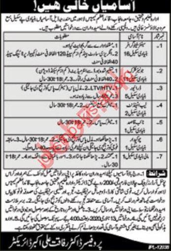 Jobs in Punjab University Quaid-e-Azam Campus Lahore 2019