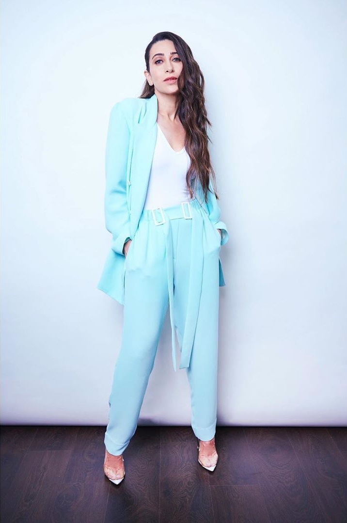 Karisma Kapoor makes a chic style statement in ice blue pantsuit