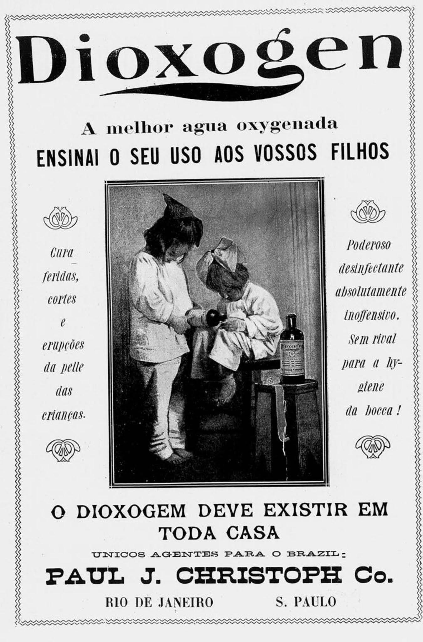 Anúncio antigo da água sanitária Dioxogen em 1914