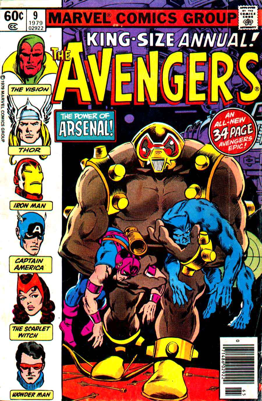 Avengers annual v1 #9 marvel comic book cover art by Don Newton