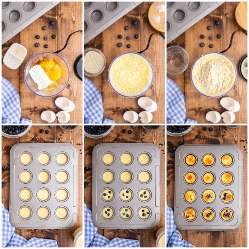Six photos of the process of making Mini Keto Pancake Bites.