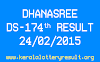 DHANASREE DS 174 Lottery Result 24-2-2015