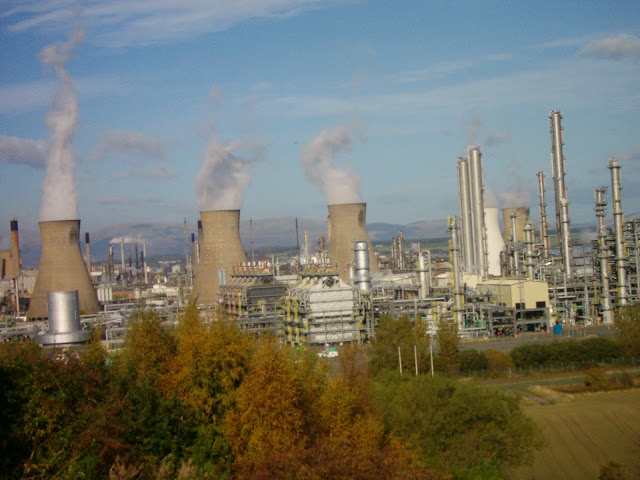 Grangemouth oil refinery with the Ochills beyond