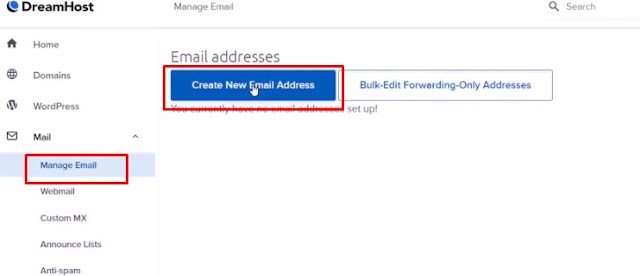 Create Free email account from dashboard