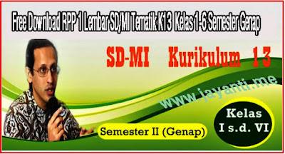 Free Download RPP 1 Lembar SD/MI Tematik K13  Kelas 1-6 Semester Genap