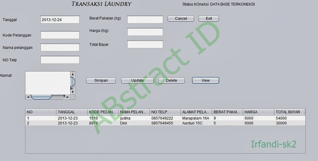 Program Java aplikasi laundry netbeans dengan database