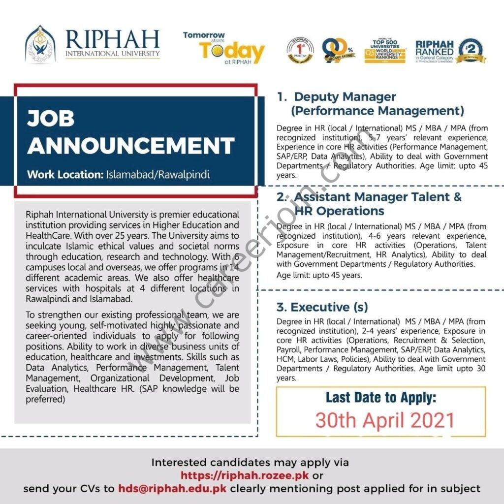 Riphah International University Jobs 2021 in Pakistan