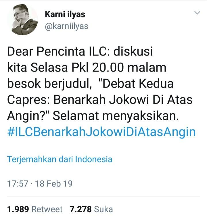 #ILCBenarkahJokowiDiAtasAngin, Jawaban Telak Netizen Bikin Ngakak