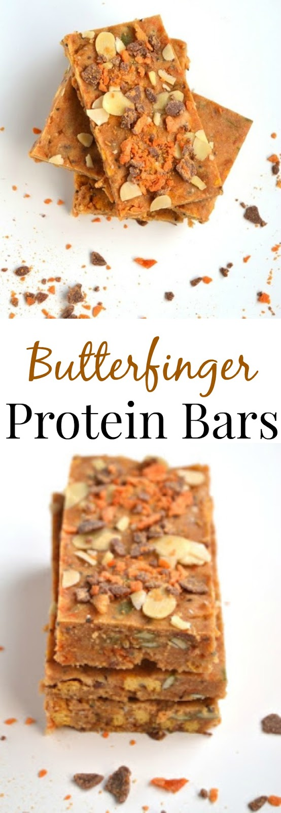These Butterfinger Protein Bars are easy and only take 5 minutes to make. Super tasty and much more affordable than store-bought bars! www.nutritionistreviews.com