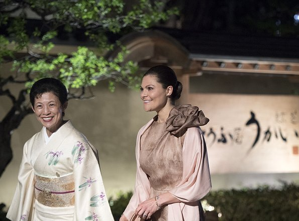 Crown Princess Victoria of Sweden and Japan's Princess Hisako of Takamado attended a dinner at the Tofuya Ukai Restaurant in Tokyo