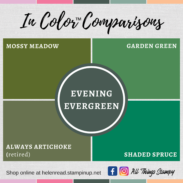 Stampin Up In Colors 2021 colour comparisons Evening Evergreen