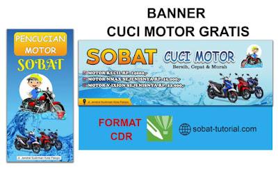 Desain Banner Cuci Motor Format CorelDraw
