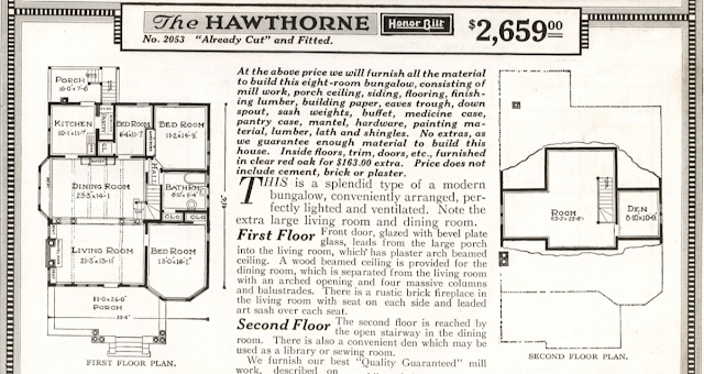 catalog image of floor plan of Sears Hawthorne in the 1918 Sears Modern Homes catalog, first called the No. 201