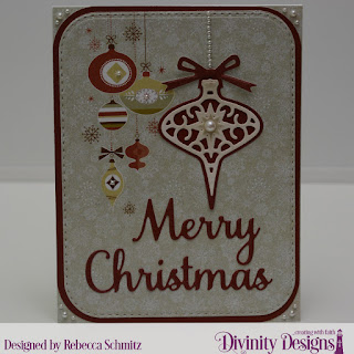 Paper Collection: Retro Christmas,Custom Dies: Tree Trimming Trio, Circle Ornaments, Merry Christmas, Rounded Rectangles, Double Stitched Rounded Rectangles
