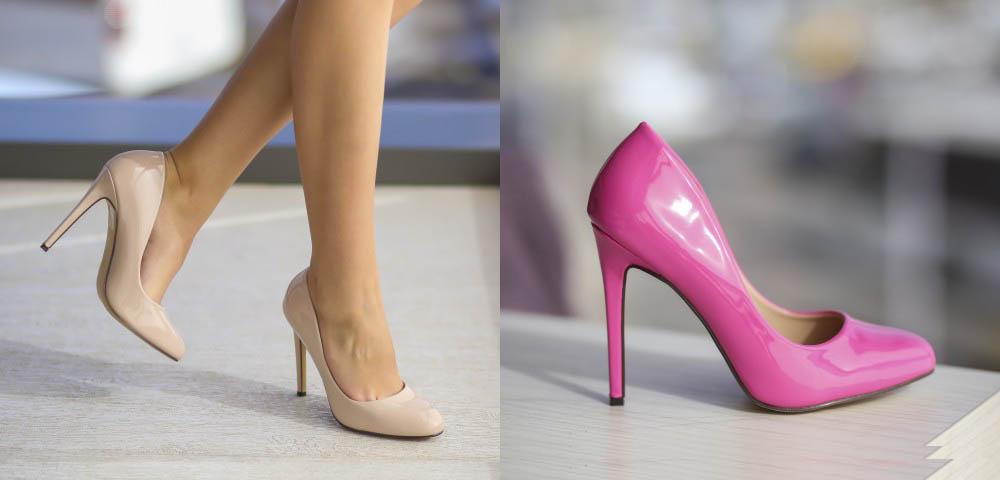 Pantofi cu toc inal eleganti roz, nude lacuiti ieftini la moda 2017