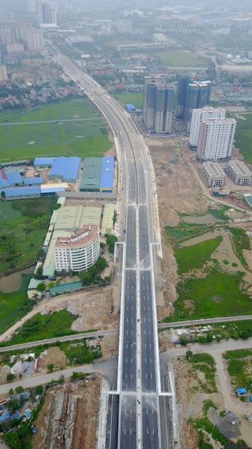 Tuyến đường Trần Hữu Dực kéo dài nhìn từ trên cao