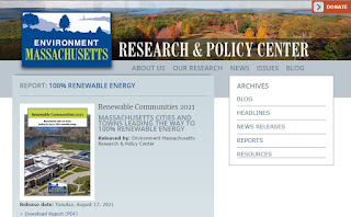"""Report:  """"Massachusetts Cities and Towns Leading the Way to 100% Renewable Energy"""""""