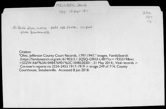 Coroner's Report for Jacob Meinzen of Steubenville, Ohio