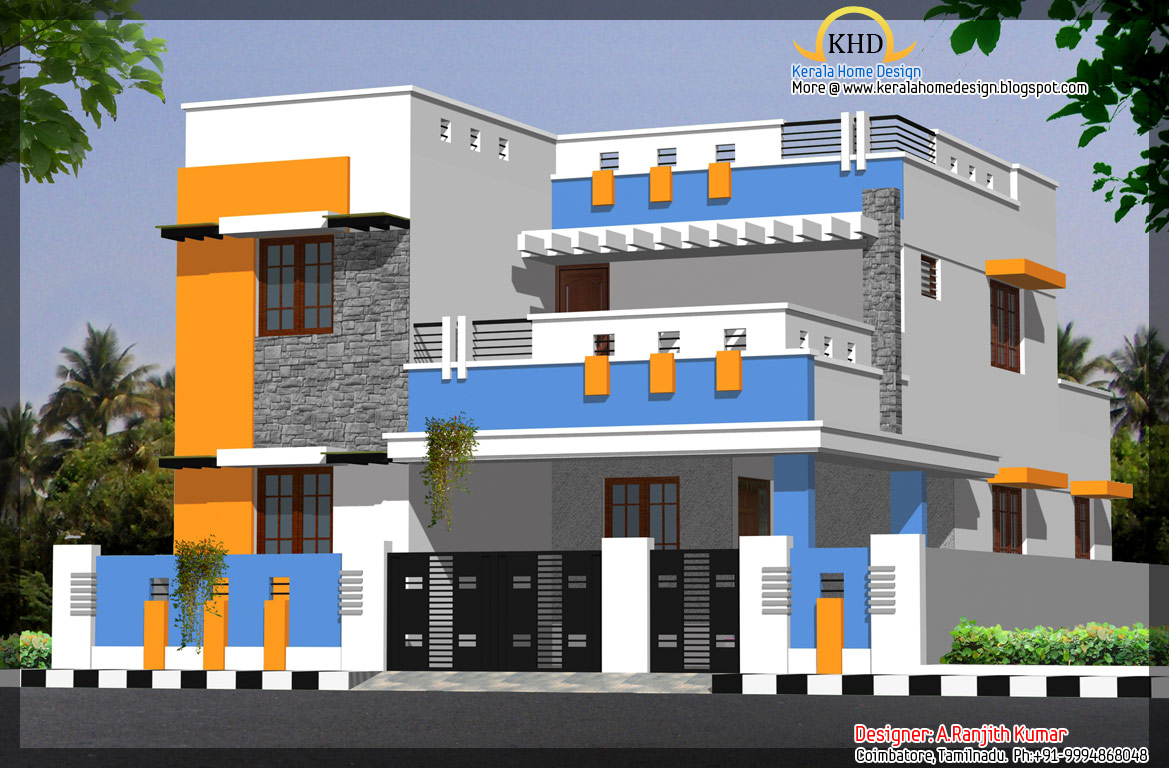 3 house elevations over 2500 sq ft kerala home design for Indian house front elevation photos for single house