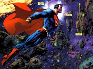 Superman puede volar con mucha potencia y velocidad