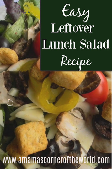 Pinnable image for turning random leftovers into a balanced, healthy lunch salad