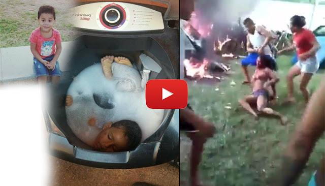 Wanita di Bakar Karena Bunuh Anak Pakai Mesin Cuci