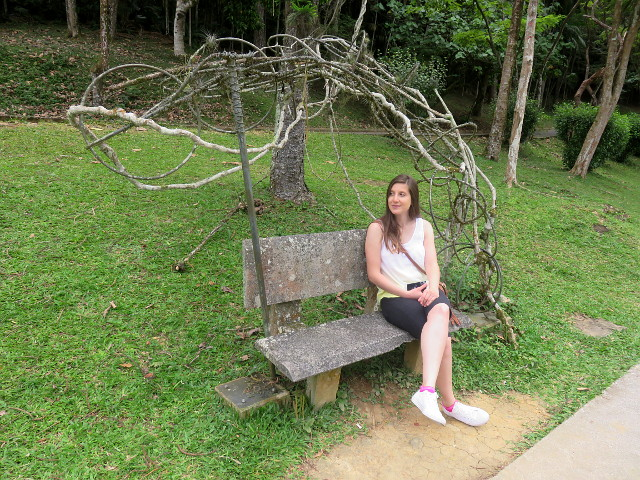 A normal park bench with some twig art around it, plus me, resting.