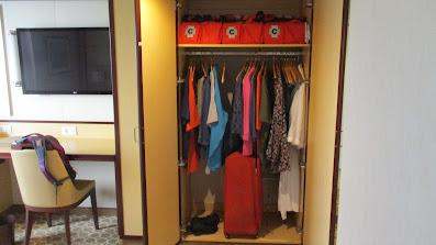 Handicapped accessible balcony cabin storage closets on Princess Cruises Royal Princess cruise ship