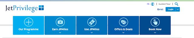 Jet Airways JP miles Website Home Page