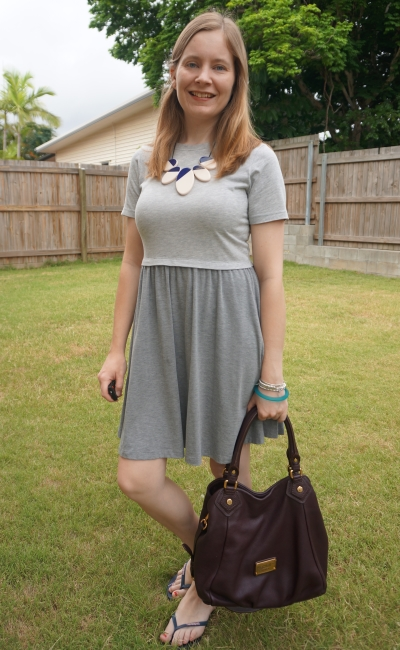 Asos grey skater dress with marc jacobs fran bag and thrifted statement necklace | awayfromblue