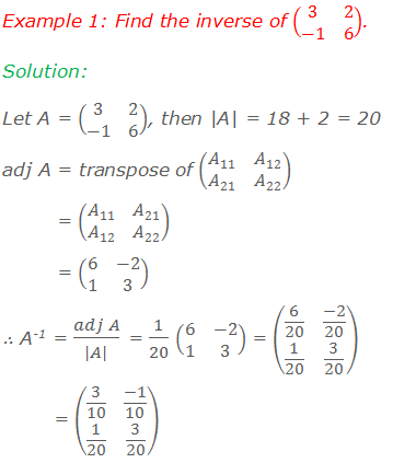 Example 1: Find the inverse of (■(3&2@-1&6)). Solution:  Let A = (■(3&2@-1&6)), then  A  = 18 + 2 = 20 adj A = transpose of (■(A_11&A_12@A_21&A_22 ))          = (■(A_11&A_21@A_12&A_22 ))          = (■(6&-2@1&3)) ∴ A-1 = (adj A)/( A ) = 1/20 (■(6&-2@1&3)) = (■(6/20&(-2)/20@1/20&3/20))           = (■(3/10&(-1)/10@1/20&3/20))