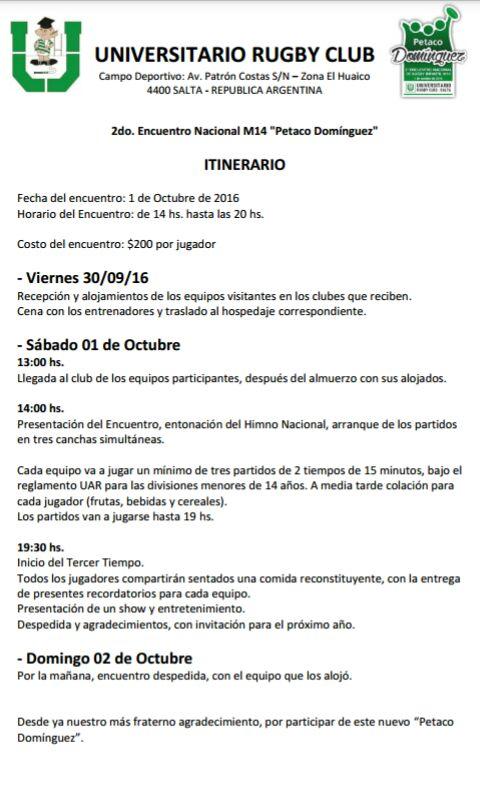 II Encuentro de Rugby Infantil Petaco Domínguez