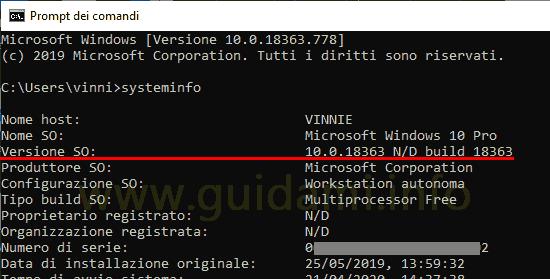 Prompt dei comandi info versione sistema operativo