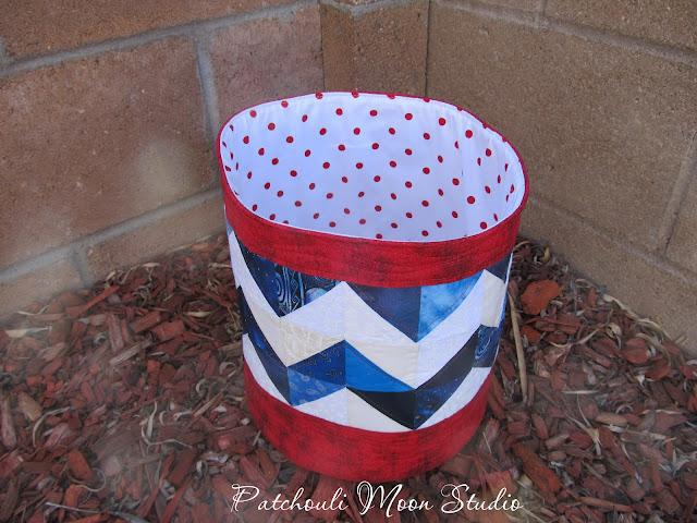 fabric bucket in red, white, blue patchwork chevron design