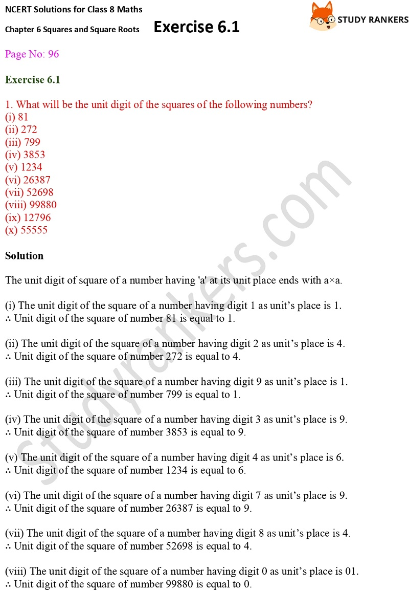 NCERT Solutions for Class 8 Maths Ch 6 Squares and Square Roots Exercise 6.1 1