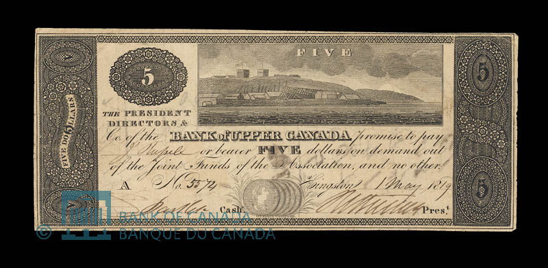 This 1819 Banknote Has Five Spanish Dollars Il Rated Along Its Bottom